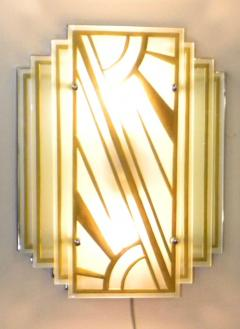 Custom Etched Glass Gold Stepped Modernist Art Deco Light - 1352403