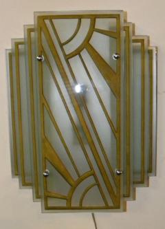 Custom Etched Glass Gold Stepped Modernist Art Deco Light - 1352404