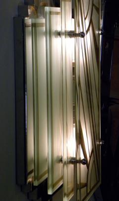 Custom Etched Glass Gold Stepped Modernist Art Deco Light - 1352406