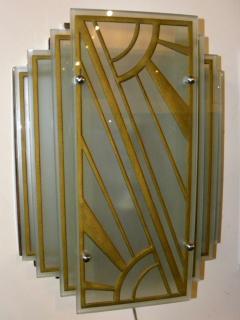 Custom Etched Glass Gold Stepped Modernist Art Deco Light - 1352408