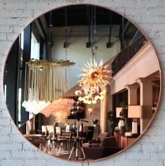 Custom Half Silver Half Apricot Round Mirror with Copper Frame - 334556