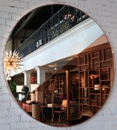 Custom Half Silver Half Apricot Round Mirror with Copper Frame - 334559