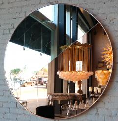 Custom Half Silver Half Apricot Round Mirror with Copper Frame - 334562