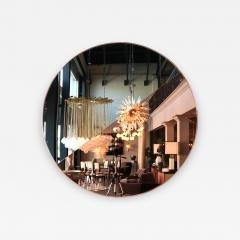 Custom Half Silver Half Apricot Round Mirror with Copper Frame - 335434