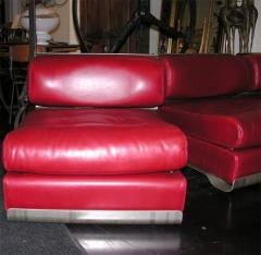 Custom Leather and Metal Three Seat Sofa - 929925
