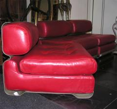 Custom Leather and Metal Three Seat Sofa - 929926