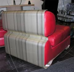 Custom Leather and Metal Three Seat Sofa - 929927