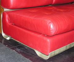 Custom Leather and Metal Three Seat Sofa - 929929