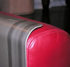 Custom Leather and Metal Three Seat Sofa - 929930