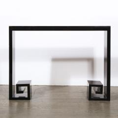Custom Modernist Black Lacquer Console with Greek Key Detailing - 2004887