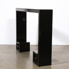 Custom Modernist Black Lacquer Console with Greek Key Detailing - 2004888