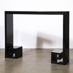 Custom Modernist Black Lacquer Console with Greek Key Detailing - 2004890