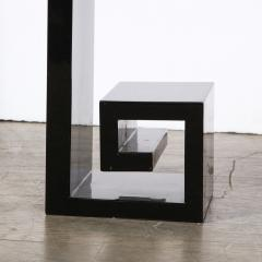 Custom Modernist Black Lacquer Console with Greek Key Detailing - 2004891