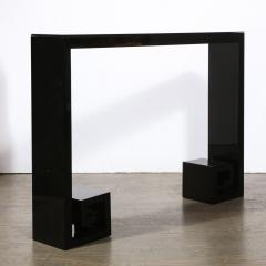 Custom Modernist Black Lacquer Console with Greek Key Detailing - 2004906