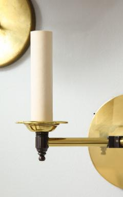 Custom Pair of Two Arm Brass Sconces in the Midcentury Manner - 1628294