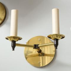 Custom Pair of Two Arm Brass Sconces in the Midcentury Manner - 1628297