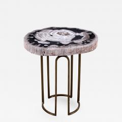 Custom Petrified Wood And Brass Accent Table   307570