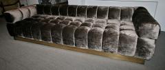 Custom Tufted Charcoal Brown Velvet Sofa with Brass Base - 296311