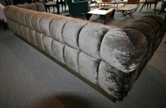 Custom Tufted Charcoal Brown Velvet Sofa with Brass Base - 296314