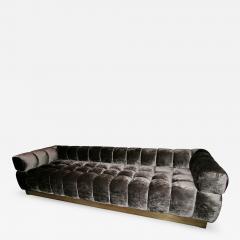 Custom Tufted Charcoal Brown Velvet Sofa with Brass Base - 296452