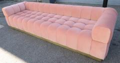 Custom Tufted Pink Velvet Sofa with Brass Base - 310204