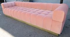 Custom Tufted Pink Velvet Sofa with Brass Base - 310205