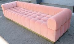 Custom Tufted Pink Velvet Sofa with Brass Base - 310206