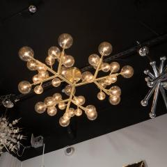 Custom and Exclusive Brass and Murano Glass Molecular Snowflake Chandelier - 1560270