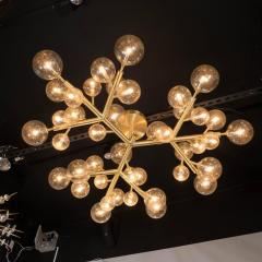 Custom and Exclusive Brass and Murano Glass Molecular Snowflake Chandelier - 1560271
