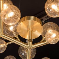 Custom and Exclusive Brass and Murano Glass Molecular Snowflake Chandelier - 1560274
