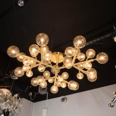 Custom and Exclusive Brass and Murano Glass Molecular Snowflake Chandelier - 1560276
