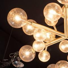 Custom and Exclusive Brass and Murano Glass Molecular Snowflake Chandelier - 1560280