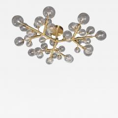 Custom and Exclusive Brass and Murano Glass Molecular Snowflake Chandelier - 1563211