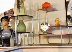Czech Bauhaus Streamlined Tubular Chrome Table or Plant Stand - 1343437