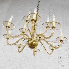 Czech bohemian blown glass and brass 12 arm chandelier 3 wall sconces - 1781026
