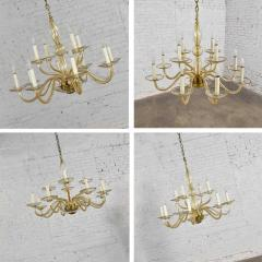 Czech bohemian blown glass and brass 12 arm chandelier 3 wall sconces - 1781027