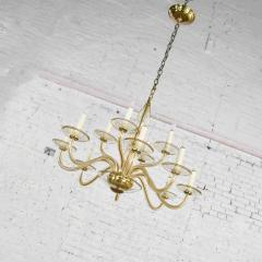 Czech bohemian blown glass and brass 12 arm chandelier 3 wall sconces - 1781028