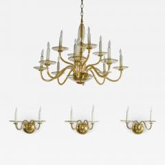 Czech bohemian blown glass and brass 12 arm chandelier 3 wall sconces - 1785403