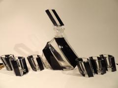 Czechoslovakian Art Deco Leaning Modernist Decanter Set - 1418700