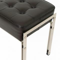 DANISH POLISHED STEEL AND LEATHER BENCH STOOL - 1035741