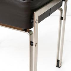 DANISH POLISHED STEEL AND LEATHER BENCH STOOL - 1035743