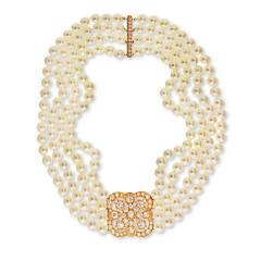 DIAMOND AND PEARL CIRCA 1990 18K YELLOW GOLD NECKLACE - 2152972