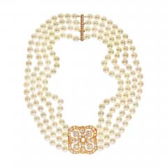 DIAMOND AND PEARL CIRCA 1990 18K YELLOW GOLD NECKLACE - 2153833
