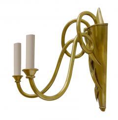 Dagobert Peche Lyrical Double Light Sconce in Brass Attributed to Dagobert Peche - 763137