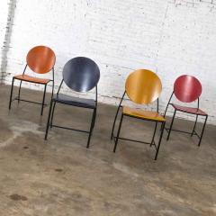 Dakota Jackson Postmodern dakota jackson vik ter dining chairs red yellow orange blue - 1765199