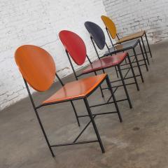 Dakota Jackson Postmodern dakota jackson vik ter dining chairs red yellow orange blue - 1765236