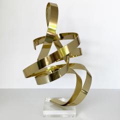 Dan Murphy Dan Murphy Gold Tone Abstract Ribbon Sculpture - 1055892