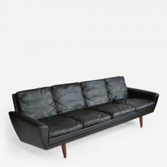 Danish Leather Sofa with Rosewood Legs - 379335