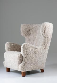 Danish Mid century Lounge Chair in Sheepskin 1940s - 1620266
