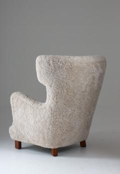 Danish Mid century Lounge Chair in Sheepskin 1940s - 1620283